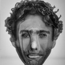 "Arya Tabandehpoor, ""Sadegh Tirafkan"", from ""Portraits"" series, photo cuts from criminology software and plexiglas sheets, 10 x 12 x 3 cm, edition of 6, 2010-2014"