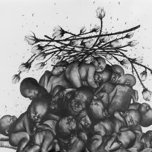"""Sara Abbasian, untitled, from """"White Rose"""" series, pencil on cardboard, 150 x 210 cm, 2019"""