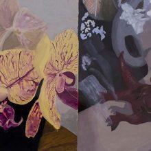 """Negar Karimkhani, """"Bloomed Magenta"""", from """"Hide & Seek"""" series, gouache on paper, 12 x 23 cm, 2018"""