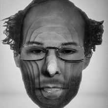 """Arya Tabandehpoor, """"Farshid Azarang"""", from """"Portraits"""" series, photo cuts from criminology software and plexiglas sheets, 10 x 12 x 3 cm, edition of 6, 2010-2014"""