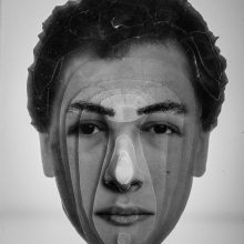 """Arya Tabandehpoor, """"Shahriar Tavakoli"""", from """"Portraits"""" series, photo cuts from criminology software and plexiglas sheets, 10 x 12 x 3 cm, edition of 6, 2010-2014"""