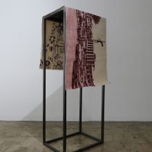 """Azadeh Barbad, """"Sterile Perspective"""", from """"Habitat"""" series, marker pen on tarpaulin, fabric size: 150 x 50 cm, size with stand: 48 x 35 x 120 cm, 2018"""