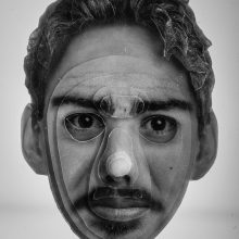 """Arya Tabandehpoor, """"Mehrdad Najmabadi"""", from """"Portraits"""" series, photo cuts from criminology software and plexiglas sheets, 10 x 12 x 3 cm, edition of 6, 2010-2014"""