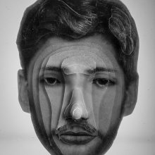 """Arya Tabandehpoor, """"Mohammad Ghazali"""", from """"Portraits"""" series, photo cuts from criminology software and plexiglas sheets, 10 x 12 x 3 cm, edition of 6, 2010-2014"""