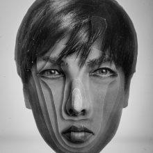 "Arya Tabandehpoor, ""Newsha Tavakolian"", from ""Portraits"" series, photo cuts from criminology software and plexiglas sheets, 10 x 12 x 3 cm, edition of 6, 2010-2014"