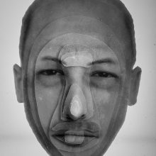 """Arya Tabandehpoor, """"Mehran Mohajer"""", from """"Portraits"""" series, photo cuts from criminology software and plexiglas sheets, 10 x 12 x 3 cm, edition of 6, 2010-2014"""