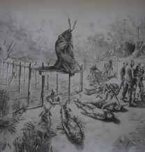 """Payam Qelichy, """"Children of Cain"""", from """"Unattainable Salvation"""" series, pencil on cardboard, 145 x 111 cm, 2018"""