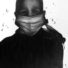 """Sara Abbasian, Untitled, From """"Epidemy"""" Series, Pencil on Cardboard, 42 x 30 cm, 2017aSara Abbasian, untitled, from """"Epidemy"""" series, pencil on cardboard, 42 x 30 cm, 2017"""