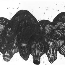 "Sara Abbasian, ""Cosmic Turtle #11"", from ""Imperishable Gravity"" series, pencil on cardboard, Diasec, 104 x 300 cm, unique edition, 2016"