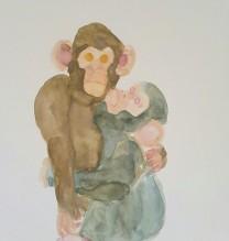 """The Last Monkey"" Series, Watercolor on Cardboard, 15×12 cm, 2015"