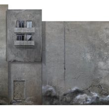 """Azin Zolfaghari, untitled, from """"Density"""" series, mixed media on canvas, Polyptych, overall size: 120 x 230 cm, 2019"""
