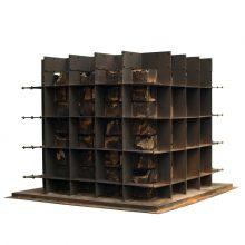 "Majid Biglari, ""Sixty Four, Fifty Two"", from ""The Experience of Dishevelment"" series, mixed media (cardboard box, ready mix concrete, iron), 60 x 60 x 60 cm, 2016"
