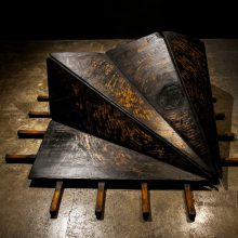 "Mehdi Abdolkarimi, ""#014"", photo installation, (wood, raw iron sheet, screw, bolt, coil, pitch, ink, glue, liquin, mono chrome flatbed print), 170 x 170 x 100 cm, unique edition, 2017"