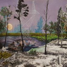 """Sanam Sayehafkan, """"The Soft Moon"""", oil on canvas, 70 x 90 cm, 2018"""