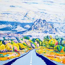 "Sara Soheilyfar, ""Jolfa Road"", from ""The Lovely Lady Iraneh"" series, oil on canvas, diptych 200 x 150 cm, 2017"