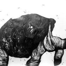 "Sara Abbasian, ""Cosmic Turtle #02"", from ""Imperishable Gravity"" series, pencil on cardboard, Diasec, 104 x 144 cm, unique edition, 2016"