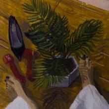"Negar Karimkhani, ""Self-Portrait"", from ""Hide & Seek"" series, gouache on paper, 9.5 x 7.5 cm, 2018"