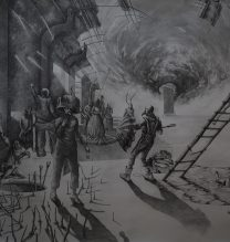 """Payam Qelichy, """"Time is a Flat Circle"""", from """"Unattainable Salvation"""" series, pencil on cardboard, 144 x 105 cm, 2018"""