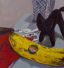 "Negar Karimkhani, ""Banana & Stuffed Cat"", from ""Hide & Seek"" series, gouache on paper, 10 x 8 cm, 2018"