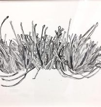 "Nahid Behboodian, Untitled From ""Sepulcher"" series, Ink on Cardboard, 55 x 75 cm, 2017"