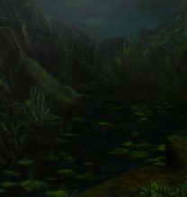 """Milad Jahangiri, Untitled, From """"On The Bed of The Dead Tree"""" series, Oil on canvas, 70 x 100  cm, 2017"""