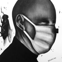 "Sara Abbasian, untitled, from ""Epidemy"" series, pencil on cardboard, 42 x 30 cm, 2017"