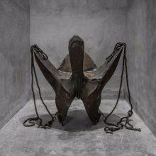 "Mojtaba Amini, ""Red Death"", leather, iron, wood, rope, 155 x 130 x 165 cm, 2016"