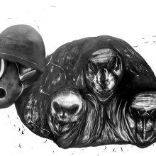 "Sara Abbasian, ""Cosmic Turtle #06"", from ""Imperishable Gravity"" series, pencil on cardboard, Diasec, 104 x 144 cm, unique edition, 2016"