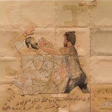 "Mojtaba Amini, untitled, from ""I Will Return"" series, mixed media ( paper, sandpaper and paint), 115 x 136 cm, 2020"