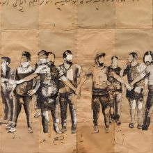 "Mojtaba Amini, untitled, from ""I Will Return"" series, mixed media ( paper, sandpaper and paint), 138 x 191 cm, 2020"