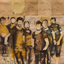 "Mojtaba Amini, untitled, from ""I Will Return"" series, mixed media ( paper, sandpaper and paint), 134 x 183 cm, 2020"