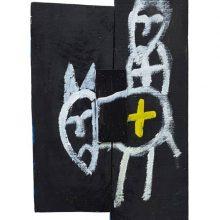 Jamshid Aminfar, untitled, mixed media on wood, 60 x 26.5 x 2.5 cm, 2019