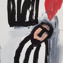 Jamshid Aminfar, untitled, mixed media on wood, 30 x 20 cm, 2019