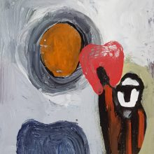 Jamshid Aminfar, untitled, mixed media on wood, 32 x 27 x 1 cm, 2019