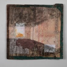 """Majid Biglari, """"Frame Spot on the Wall"""", from """"Soot, Fog, Soil"""" series, mixed media, tinplate (used in oil cans and roofing material), paper (letters, photographs), paint, watercolor, ink, glue, etc., 62 x 63 cm, unique edition, 2021"""
