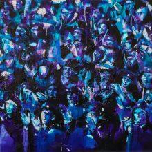 "Amir-Hossein Zanjani, ""Violet Velvet"", from ""Applaud"" series, oil on canvas, 150 x 180 cm, 2021"