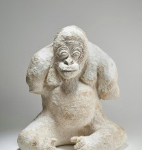"Nahid Behboodian, from ""The Last Monkey"" series, papier-mache, 40 x 37 x 26 cm, 2015"