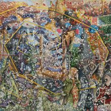"""Behrang Samadzadegan, """"The Triumph of Death (After Palermo Fresco)"""", from """"Heading Utopia; Chapter 2: The Spring That Never Came"""" series, watercolor on Arches paper, 128.4 x 180.5 cm, frame size: 133 x 185.5 cm, 2020"""