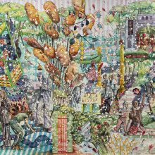 """Behrang Samadzadegan, """"In the Penal Colony (After Kafka)"""", from """"Heading Utopia; Chapter 2: The Spring That Never Came"""" series, watercolor on Arches paper, 138 x 215.5 cm, frame size: 143 x 220 cm, 2021"""