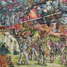"""Behrang Samadzadegan, """"The Triumph of Death (After Pieter Bruegel)"""", from """"Heading Utopia; Chapter 2: The Spring That Never Came"""" series, watercolor on Cotton paper, 130 x 180 cm, frame size: 134 x 185.5 cm, 2021"""