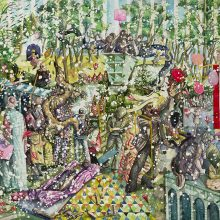 """Behrang Samadzadegan,""""Miracle of the Slave (After Tintoretto)"""" From """"Heading Utopia; Chapter 2: The Spring That Never Came"""" series, watercolor on Cotton paper, 105 x 140 cm, frame size: 108.5 x 144 cm, 2021"""