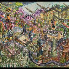 "Behrang Samadzadegan, ""Majnun Deceased at  Layli's Camp"", watercolor on cotton paper, 131 x 182 cm, 2020"