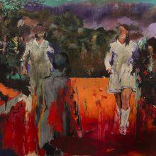 "Amir-Hossein Zanjani, ""Cat Walk"", from ""Marching: series, oil on canvas, 200 x 250 cm, 2019"