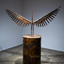 """Amir Mobed, """"#2"""", from """"Praising the Tool"""" series, bronze, barrel (rusted steel),182 x 166 x 58 cm, edition of 3 + AP, 2020"""