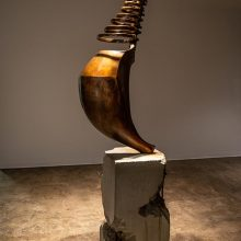 """Amir Mobed, """"#4"""", from """"Praising the Tool"""" series, bronze, concrete, 215 x 70 x 45 cm , edition of 3 +AP, 2020"""