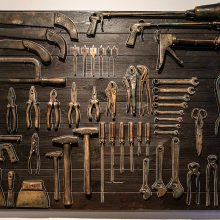 """Amir Mobed, """"#1"""", from """"Praising the Tool"""" series, wood, steel tools covered with bronze, nails, 100 x 150 cm, edition of 3 + AP, 2020"""