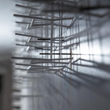 """Mahmoud Bakhshi, from """"Unity of Time and Place"""" project (detail), installation of 8 pieces with various sizes, polylactic acid, unique edition, 2017-2020"""