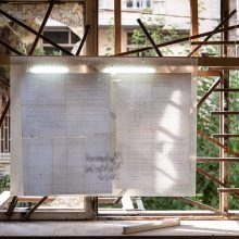 "Mahmoud Bakhshi, from ""Marking System"" project, (map, bubble wrap, plexiglas, wood and fluorescent lamp), 76 x 103 cm, open edition, 2020"