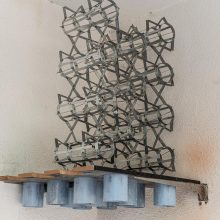 "Mahmoud Bakhshi, from ""Bahman wall"" project, installation , galvanized sheet, size: 62 x 65 x 88 cm, 2020"