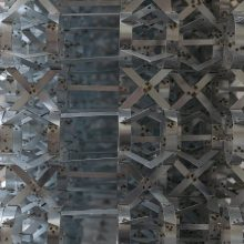 """Mahmoud Bakhshi, from """"Bahman wall"""" project (detail), installation of 8 pieces, galvanized sheet, size: each 126 x 120 x 64 cm, overall size: 480 x 240 cm, edition of 80 (10 x 8) + 8 AP, 2020"""